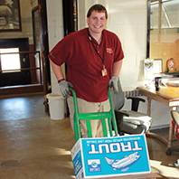 Trevor was responsible for helping fill food orders that were delivered to the animal buildings.