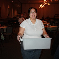 Brittany working as a dining room attendant at Serb Hall