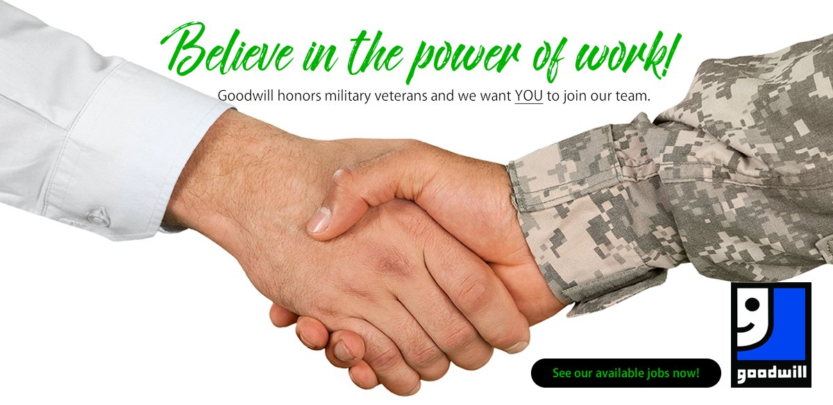 Goodwill hires military veterans! Join our team today!